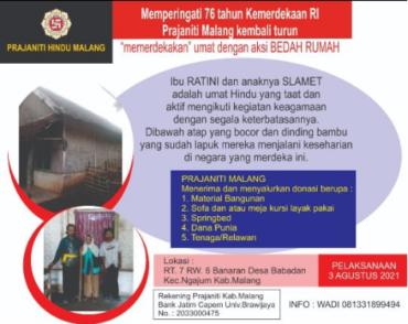 Bedah Rumah Prajaniti Hindu Indonesia Malang